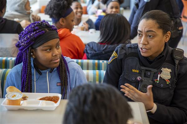 Whitney Young students eat lunch with Cleveland police officers (Video, photo gallery)