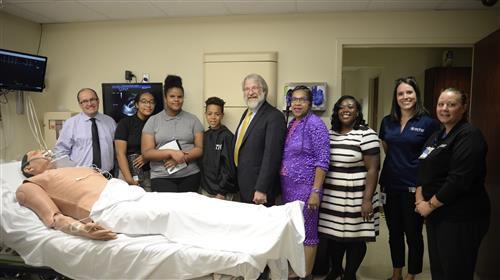 State Superintendent DeMaria with CMSD Eric Gordon plus teachers  students from Lincoln-West School of Science and Health
