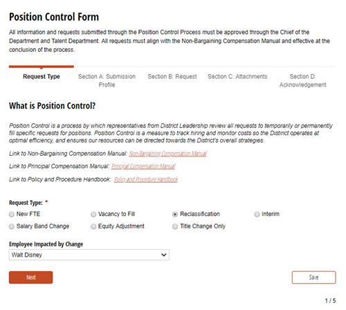 Position Control Form