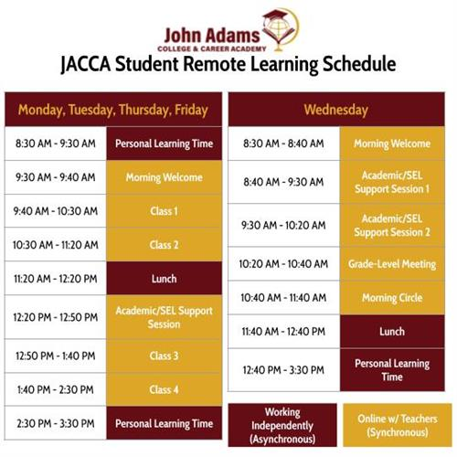 JACCA Remote Learning Schedule