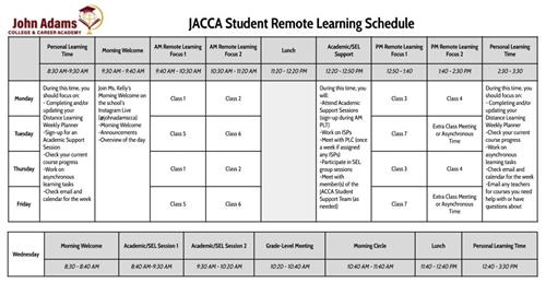 Sample Student Remote Learning Schedule