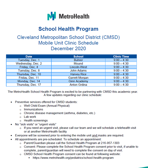 Metrohealth van schedule