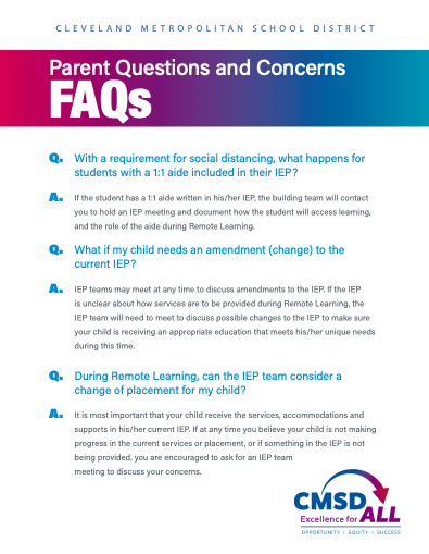 Students with Special Needs FAQ flier