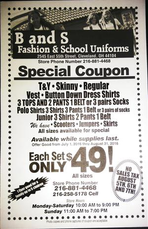 B and S Uniforms Coupon