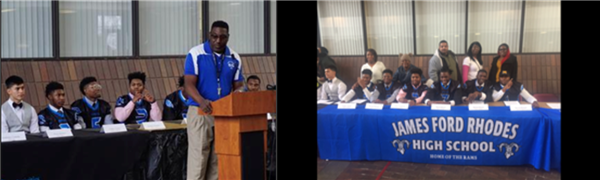 Historic: Six student-athletes from James Ford Rhodes sign National Letters of Intent to play college football.