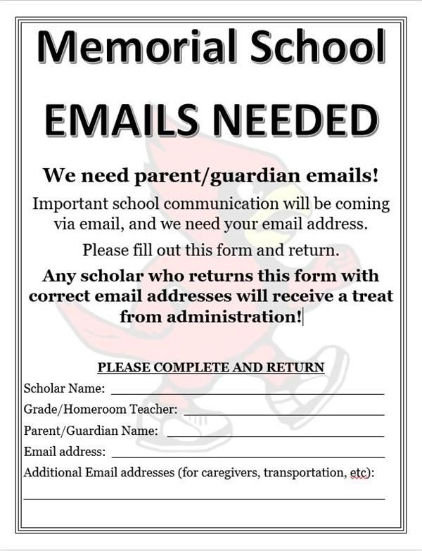 PARENT EMAILS NEEDED
