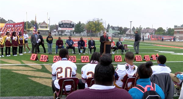 John Adams community thankful for new turf field donated by Cleveland Browns