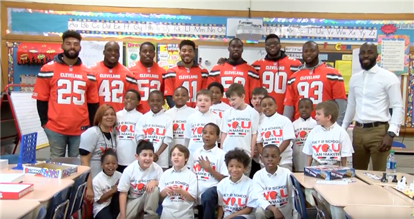 Cleveland Browns visit Valley View Boys Leadership Academy in support of attendance campaign