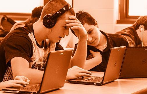 Students working with computers