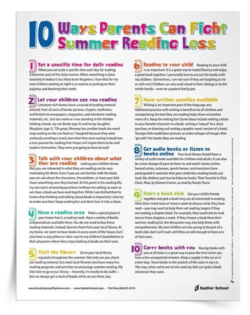 10 ways to prevent Summer reading loss