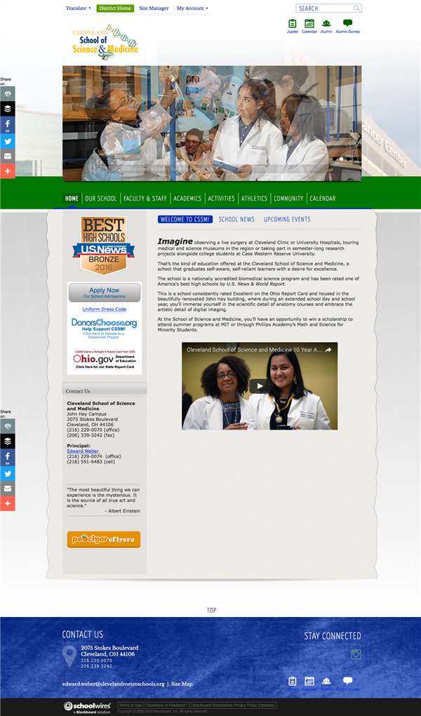 Cleveland School of Science and Medicine website